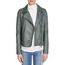 Buy Oui Leather Biker Jacket, Climbing Ivy Online at johnlewis.com