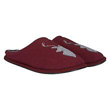 Buy John Lewis Stag Mule Slippers, Burgundy/Grey Online at johnlewis.com