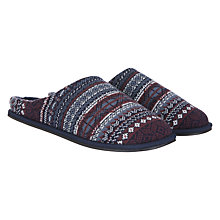 Buy John Lewis Fair Isle Mule Slippers, Grey/Burgundy Online at johnlewis.com