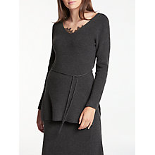 Buy Modern Rarity V-Neck Rib Tunic Jumper, Charcoal Online at johnlewis.com