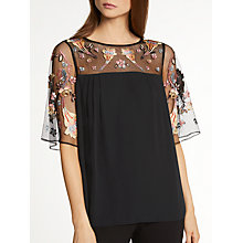 Buy Somerset by Alice Temperley Lily Fireflower Top, Black Online at johnlewis.com