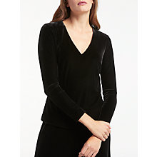 Buy Bruce by Bruce Oldfield V-Neck Velvet Top, Black Online at johnlewis.com