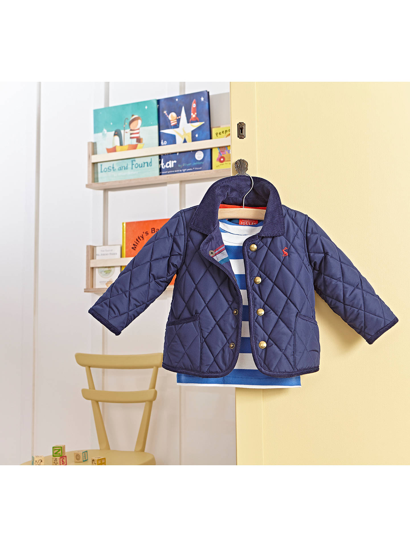 5fae42c6a Baby Joule Milford Quilted Jacket, French Navy at John Lewis & Partners