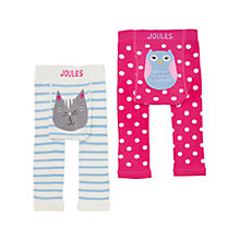 Buy Baby Joules Lively Footless Leggings, Pack of 2, Pink Online at johnlewis.com