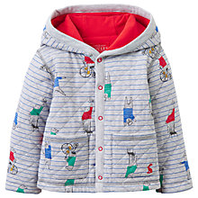 Buy Baby Joules Cuddle Bear Stripe Hooded Coat, Red/Grey Online at johnlewis.com