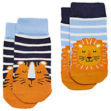 Buy Baby Joule Neat Feet Lion Socks, Pack of 2, Navy/White Online at johnlewis.com