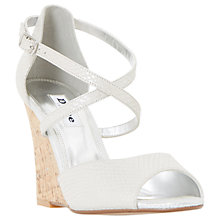 Buy Dune Kasino Cross Strap Wedge Sandals, Silver Online at johnlewis.com