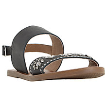 Buy Dune Luma Embellished Flat Sandals, Black Online at johnlewis.com