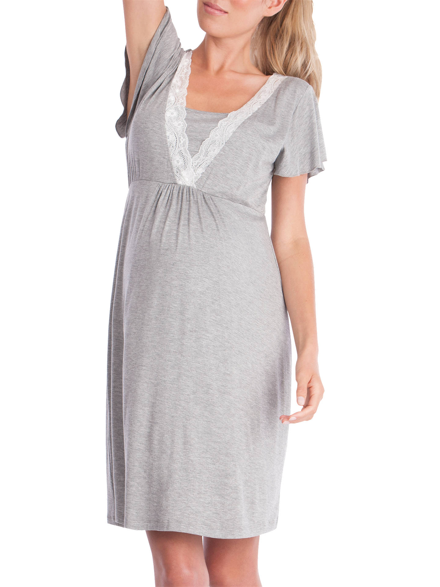 Buy Seraphine Maternity Meadow Nightdress, Grey, XS Online at johnlewis.com