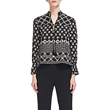 Buy Whistles Aaliyah Crosshatch Print Top, Black/White Online at johnlewis.com