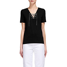 Buy Whistles Lace-Up Front T-Shirt, Navy Online at johnlewis.com