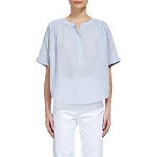 Buy Whistles Paula Stripe Placket Blouse, Ice Blue Online at johnlewis.com