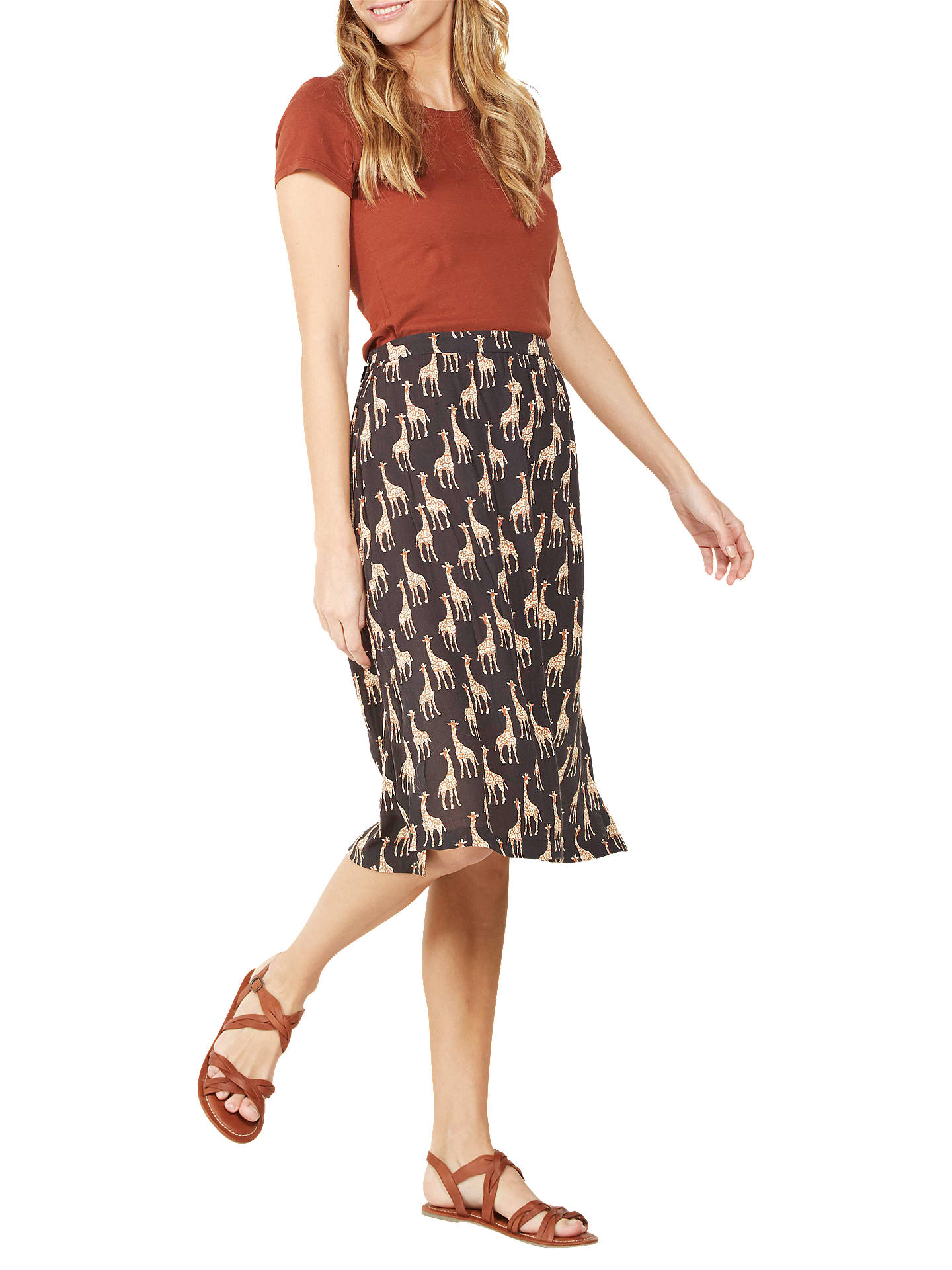 a2eb16903a Buy Fat Face Collier Giraffe Midi Skirt, Phantom, 6 Online at johnlewis.com  ...