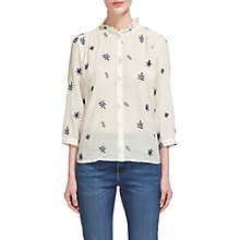 Buy Whistles Embroidered Leaf Shirt, Ivory Online at johnlewis.com