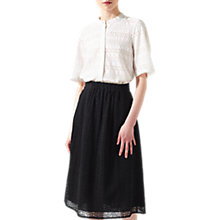 Buy Jigsaw Broderie Midi Skirt, Black Online at johnlewis.com