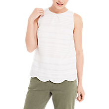 Buy Oasis Grid Stripe Scallop Shell Top, White Online at johnlewis.com