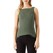 Buy Jigsaw Ribbed Square Neck Tank Top, Cactus Green Online at johnlewis.com