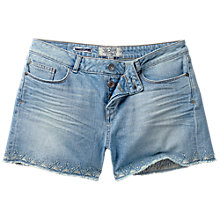 Buy Fat Face Embroidered Denim Shorts, Denim Online at johnlewis.com