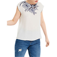 Buy Oasis Embroidered Wrap Back T-Shirt, White/Navy Online at johnlewis.com