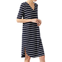 Buy Jigsaw Stripe Relaxed V Dress, Navy Online at johnlewis.com