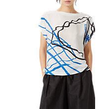 Buy Jigsaw Butterfly Series Short Sleeve Silk Top, White Online at johnlewis.com