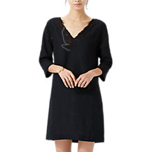 Buy Jigsaw Floral Embroidered Linen Dress, Black Online at johnlewis.com