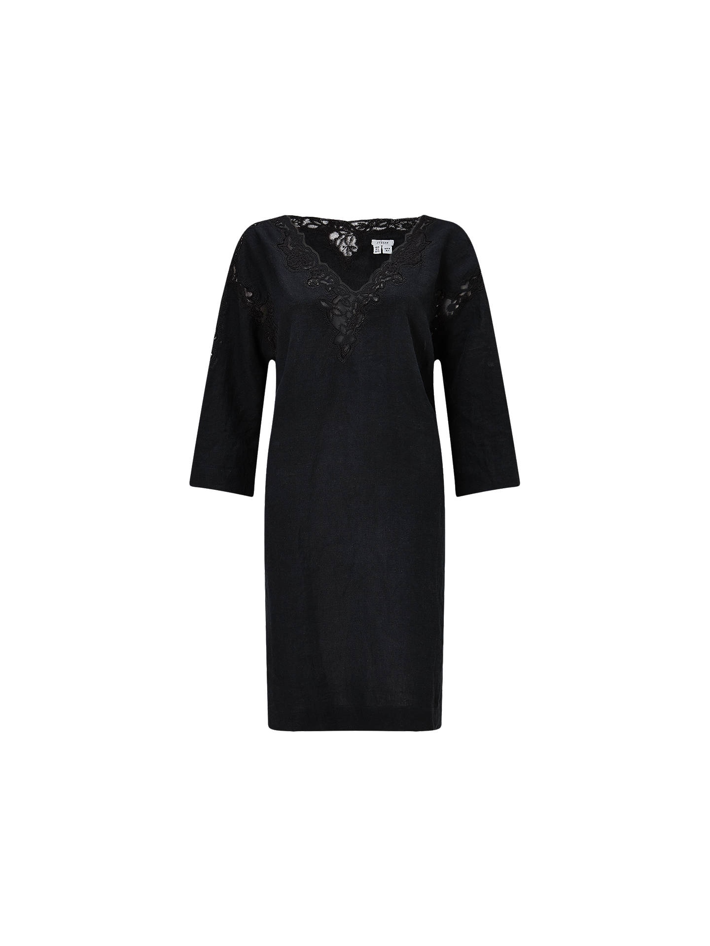 Jigsaw Floral Embroidered Linen Dress Womens New Black