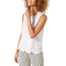 Buy Jigsaw Cotton Broderie Tank Top, White Online at johnlewis.com