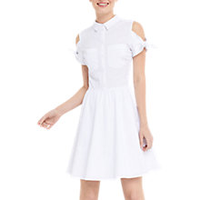 Buy Oasis Tie Cold Shoulder Shirt Dress, White Online at johnlewis.com