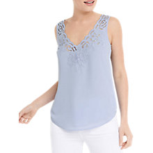 Buy Oasis Scallop Embroidered Vest Top, Light Blue Online at johnlewis.com