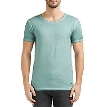 Buy BOSS Orange Tour Garment Washed Cotton T-Shirt, Turquoise/Aqua Online at johnlewis.com