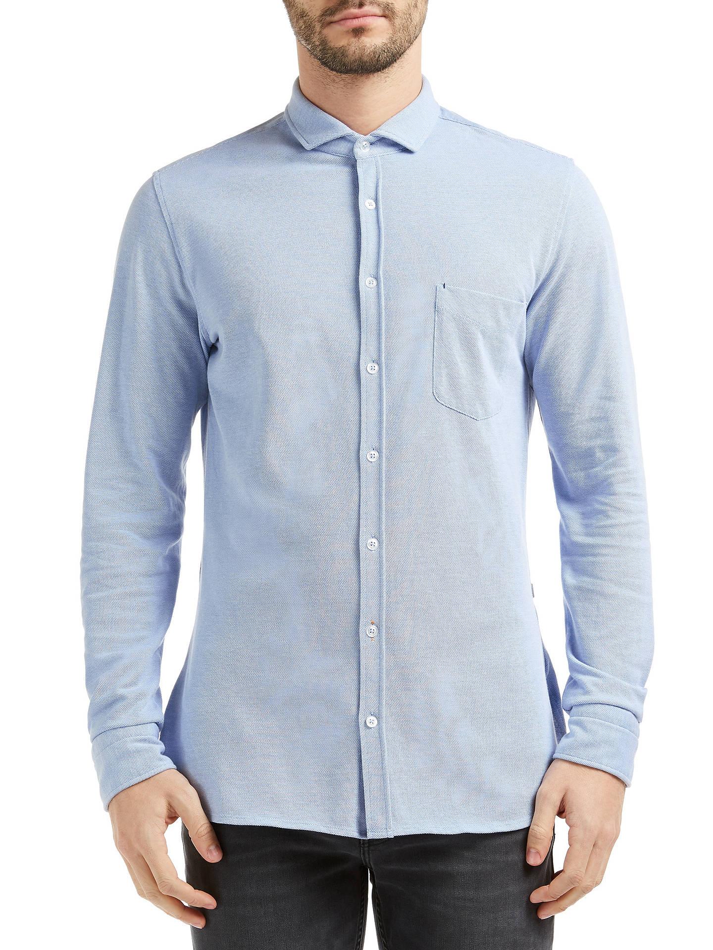 6a14da362 Buy BOSS Orange Cattitude Slim Fit Shirt, Open Blue, S Online at johnlewis.