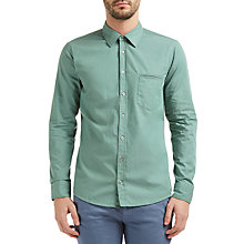 Buy BOSS Orange Classy Yarn Dye Cotton Regular Fit Shirt, Turquoise/Aqua Online at johnlewis.com