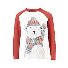 Buy John Lewis Boys' Polar Bear Print T-Shirt, Cream/Red Online at johnlewis.com