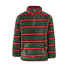 Buy John Lewis Boys' Stripe Zip Neck Fleece, Green Online at johnlewis.com