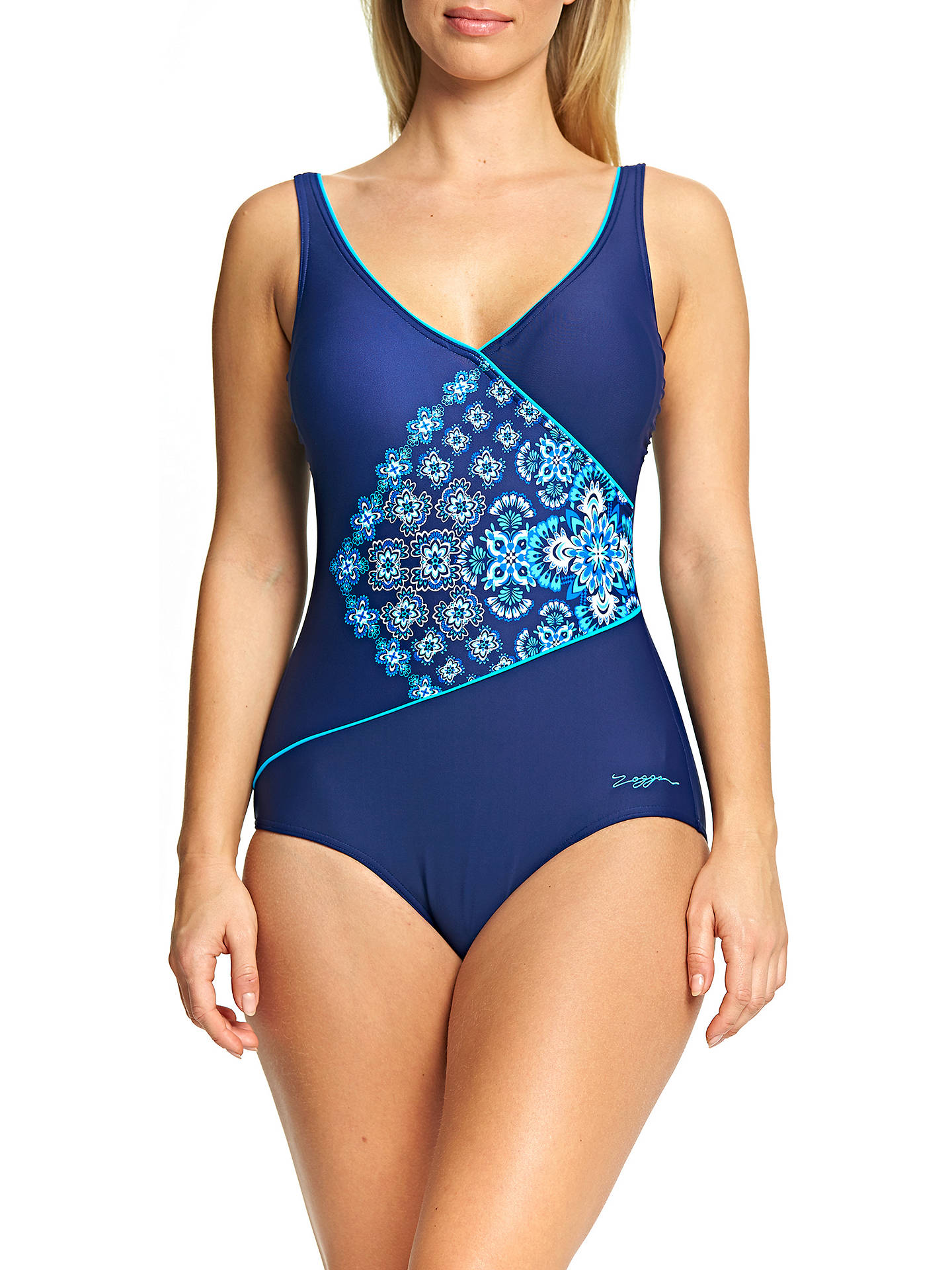 BuyZoggs Craftwork Wrap Front Swimsuit, Navy, 8 Online at johnlewis.com