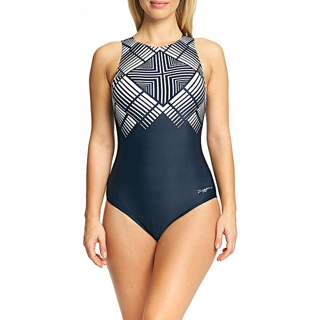 BuyZoggs Lux Sport Hi Front Swimsuit, Black/White, 8 Online at johnlewis.com