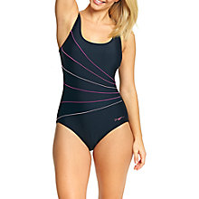 Buy Zoggs Renaissance Piped Scoopback Swimsuit, Black/Pink Online at johnlewis.com