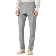 Buy Reiss Stanley Houndstooth Linen Blend Slim Fit Suit Trousers, Grey Online at johnlewis.com
