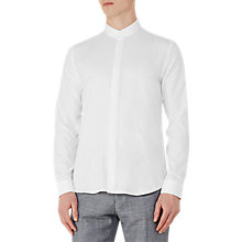 Buy Reiss Prime Textured Grandad Collar Shirt, White Online at johnlewis.com
