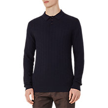 Buy Reiss Sherlock Textured Weave Long Sleeve Polo Shirt, Navy Online at johnlewis.com