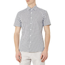 Buy Reiss Cumbria Patterned Cotton Short Sleeve Shirt, Green Online at johnlewis.com