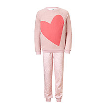 Buy John Lewis Children's Big Hearts Jersey Pyjamas, Pink Online at johnlewis.com