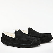 Buy UGG Ascot Moccasin Suede Slippers, Black Online at johnlewis.com