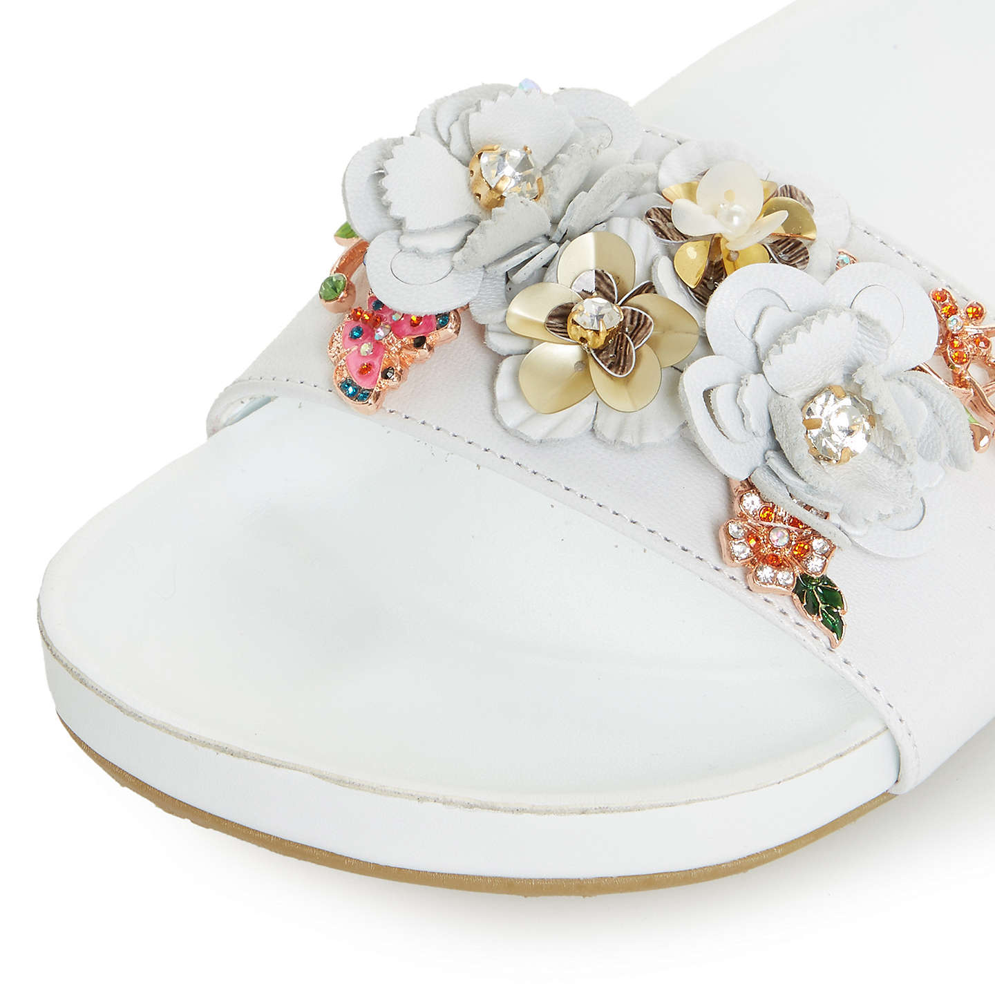 BuyDune Laelia Flower Slider Sandals, White, 3 Online at johnlewis.com