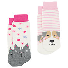 Buy Baby Joule Neat Feet Cat Socks, Pack of 2, Pink/Multi Online at johnlewis.com