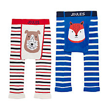 Buy Baby Joules Lively Footless Leggings, Pack of 2, Blue/White Online at johnlewis.com