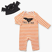 Buy John Lewis Baby Halloween Bat Romper & Hat, Orange Online at johnlewis.com