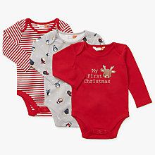 Buy John Lewis Baby My 1st Christmas Bodysuit, Pack of 3 Online at johnlewis.com