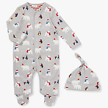 Buy John Lewis Baby Polar Bear & Penguin Print Sleepsuit and Hat Set, Grey Online at johnlewis.com